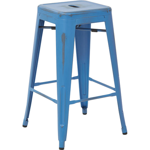 "OSP Bristow 26"" Antique Metal Barstools, Antique Royal Blue Finish (Set of 4)"