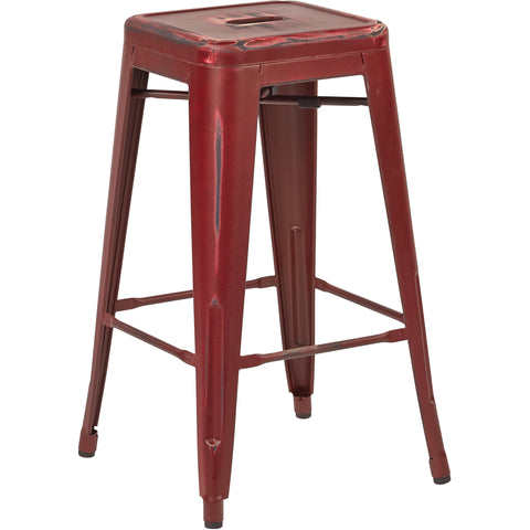 "OSP Bristow 26"" Antique Metal Barstools, Antique Red Finish (Set of 4)"