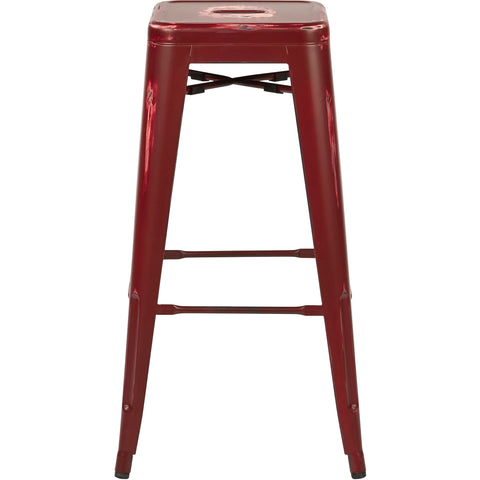 "OSP Bristow 30"" Antique Metal Barstools, Antique Red Finish (Set of 2)"