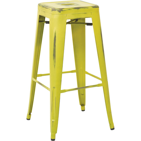 "OSP Bristow 30"" Antique Metal Barstools, Antique Lime Finish (Set of 4)"