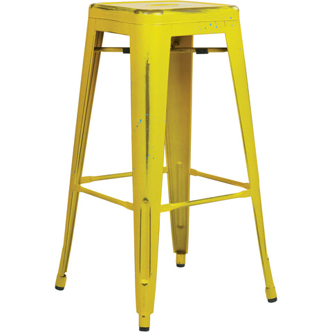 "OSP Bristow 30"" Antique Metal Barstools, Antique Yellow Finish (Set of 4)"