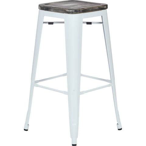 "OSP Bristow 30"" Antique Metal Barstools, Ash Crazy Horse Seat, White (Set of 4)"