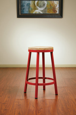 "OSP Bristow 26"" Metal Backless Barstool, Red Finish"