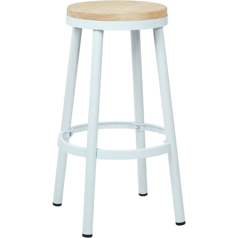 "OSP Bristow 30"" Metal Backless Barstool, White Finish"