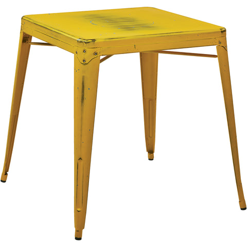 OSP Bristow Antique Metal Table, Antique Yellow Finish