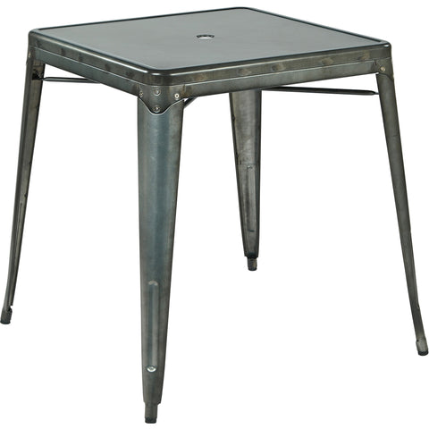 OSP Bristow Metal Dining Table with Umbrella Hole, Matte Galvanized Finish