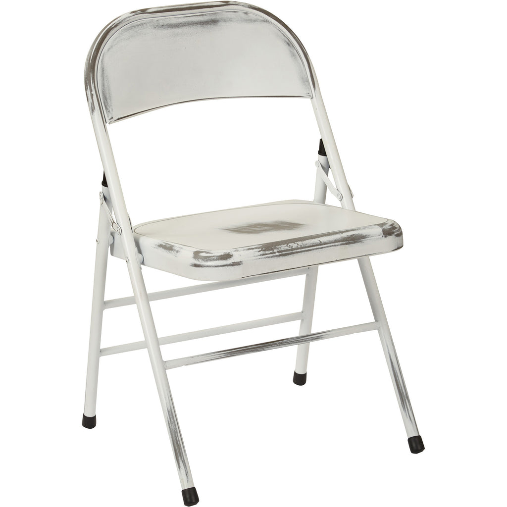 White Metal Folding Chairs osp bristow metal folding chairs, antique white distressed finish
