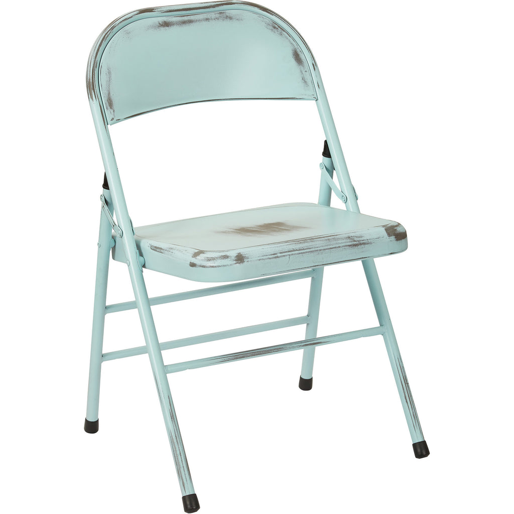 OSP Bristow Metal Folding Chairs, Antique Sky Blue Distressed Finish (Set  of 4) - OSP Bristow Metal Folding Chairs, Antique Sky Blue Distressed