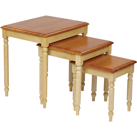 OSP Country Cottage Nesting Tables, Buttermilk & Cherry Finish (3pc Set)