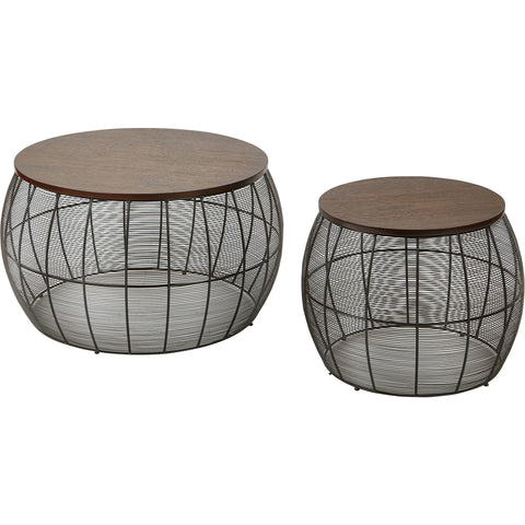 OSP Camden Round Metal Accent Tables with Wood Top, Espresso Finish (2pc Set)