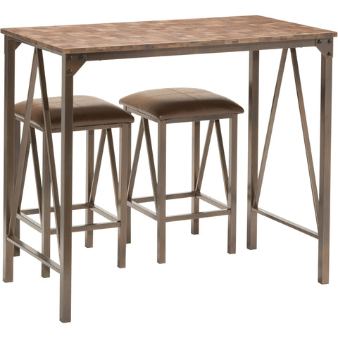 OSP Catalina Breakfast Table & Chairs with Brown Powder Coat Finish (3pc Set)
