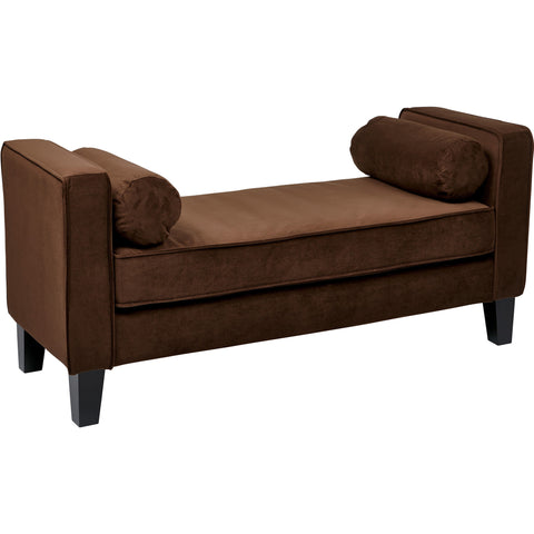 Curves Bench with Pillows, Chocolate Velvet