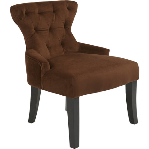 OSP Napa Mahogany Wood Guest Chair with Upholstered Back, Black Fabric