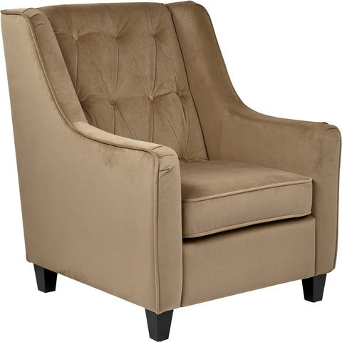 Curves Tufted Back Arm Chair with Easy-Care Fabric, Coffee Velvet