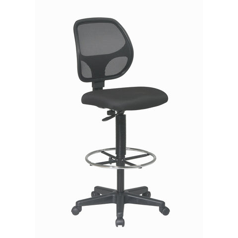 Work Smart Mesh Back Drafting Chair with Adjustable Footring, Black Fabric
