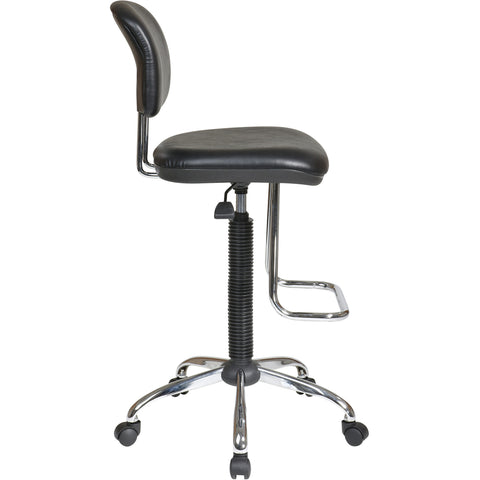 Work Smart Economical Drafting Chair with Teardrop Footrest, Black Vinyl