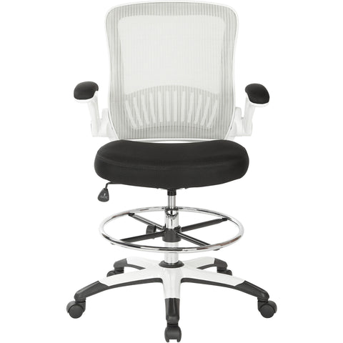 Work Smart Mesh Back Drafting Chair with Adjustable Footring, Black Mesh