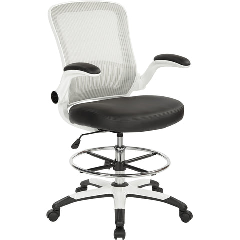 Work Smart Mesh Back Drafting Chair with Adjustable Footring, Black Faux Leather