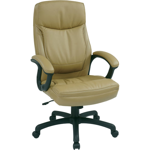 Work Smart Executive High-Back Chair with Tilt Control, Tan Bonded Leather