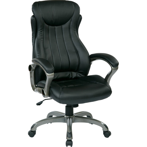 Work Smart Executive Manager's Chair with Padded Arms, Black Bonded Leather