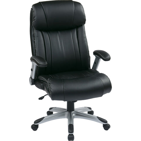 Work Smart Chair with Padded Flip Arms & Silver Accents, Black Bonded Leather