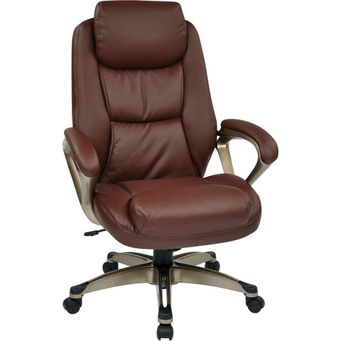 Work Smart Chair with Padded Arms & Coil Spring Seat, Wine Bonded Leather