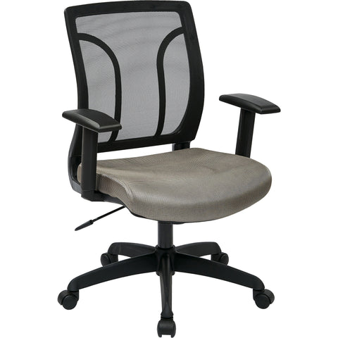 Work Smart Screen Back Chair with Mesh Seat & Height Adjustable Arms, Grey