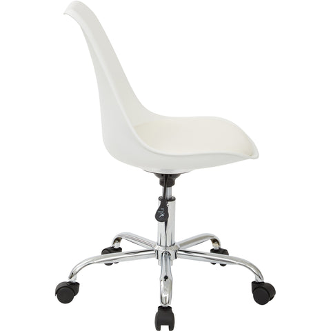 Emerson Student Office Chair with Pneumatic Chrome Base, White