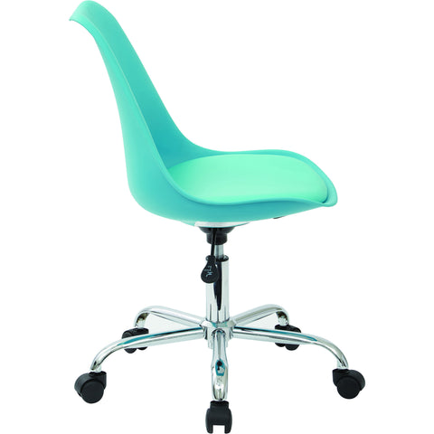 Emerson Student Office Chair with Pneumatic Chrome Base, Teal