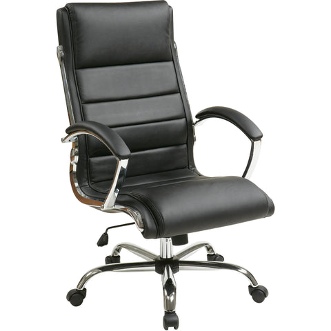 Work Smart Thick Padded Executive Chair with Chrome Accents, Black Faux Leather