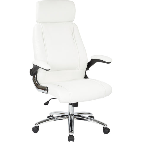 Work Smart Executive Chair Headrest & Chrome Accents, White Faux Leather
