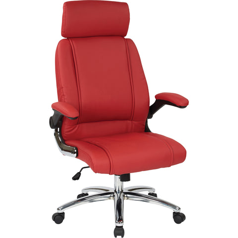 Work Smart Executive Chair Headrest & Chrome Accents, Red Faux Leather