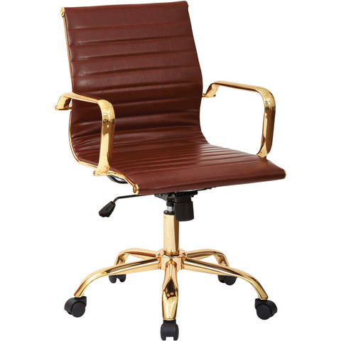 Work Smart Lumbar Support Chair with Thick Padding, Saddle Faux Leather