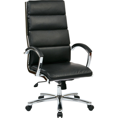 Work Smart High-Back Chair with Polished Aluminum Finish, Black Faux Leather
