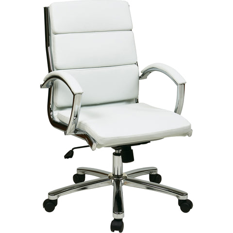 OSP Mid-Back Executive Chair with Chrome Finish Base, White Faux Leather