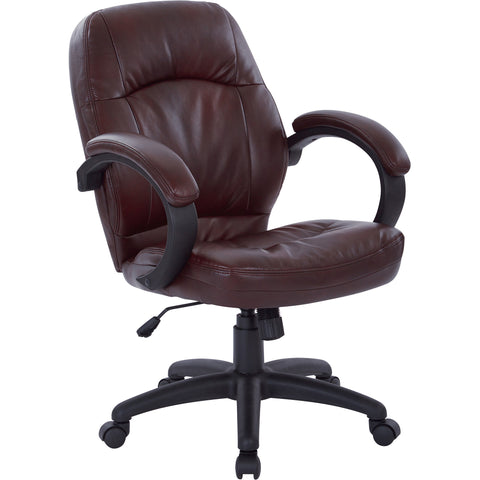 Work Smart Deluxe Manager's Chair with Padded Arms, Chestnut Brown Faux Leather