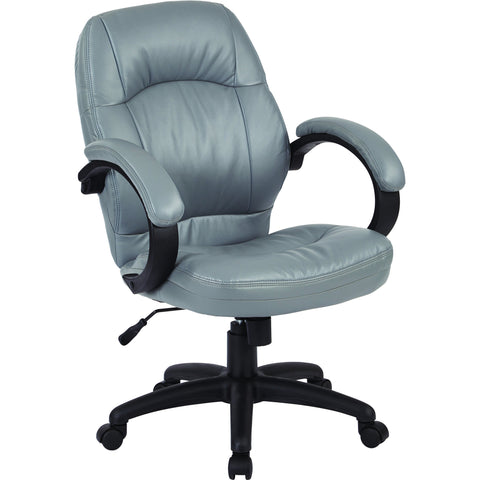Work Smart Deluxe Manager's Chair with Padded Arms, Charcoal Grey Faux Leather