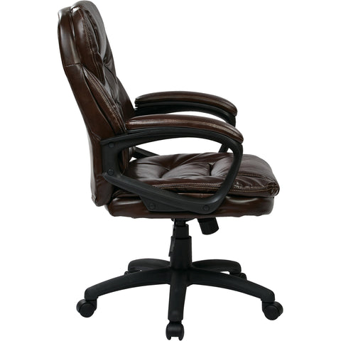 Work Smart Manager's Chair with Padded Arms, Chocolate Faux Leather