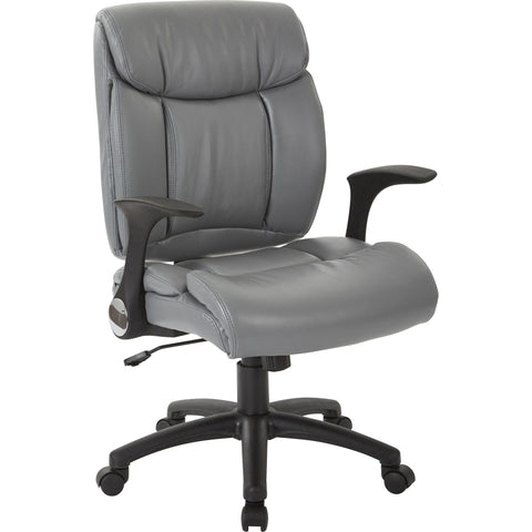 Work Smart Visitor's Chair with Flip Arms, Charcoal Faux Leather