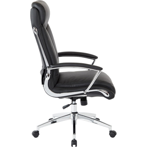 Work Smart High-Back Executive Chair with Padded Arms, Black Faux Leather