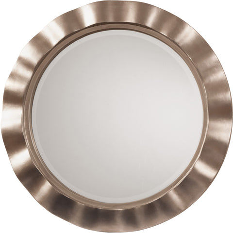 OSP Cosmos Beveled Wall Mirror with Brushed Silver Round Wavy Frame, Silver
