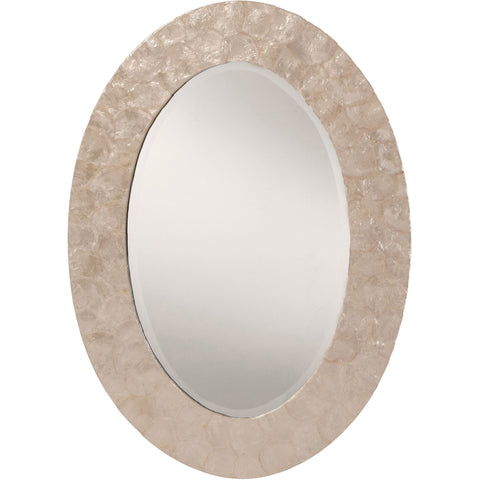 OSP Rio Beveled Wall Mirror with Mother of Pearl Oval Frame, White