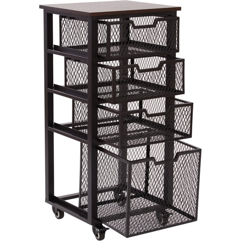 OSP Garret 4-Drawer Cart with Locking Casters & Espresso Wood Top, Black