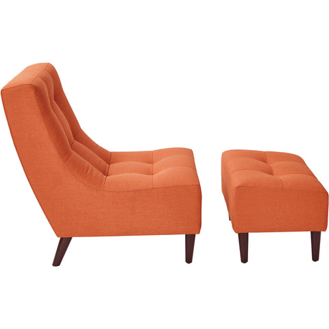 OSP Hudson Chair & Ottoman Set with Espresso Legs, Milford Tangerine Fabric