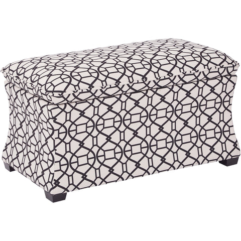 Hourglass Storage Ottoman, Morgan Noah Windsor Fabric