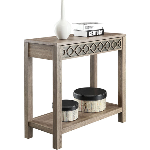 OSP Helena Driftwood Style Foyer Table with Mirror Panel, Greco Oak Finish