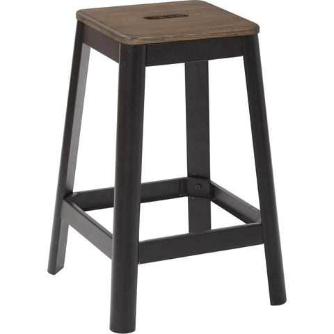 "OSP Hammond 26"" Metal Barstool with Darkwood Seat, Frosted Black Finish"