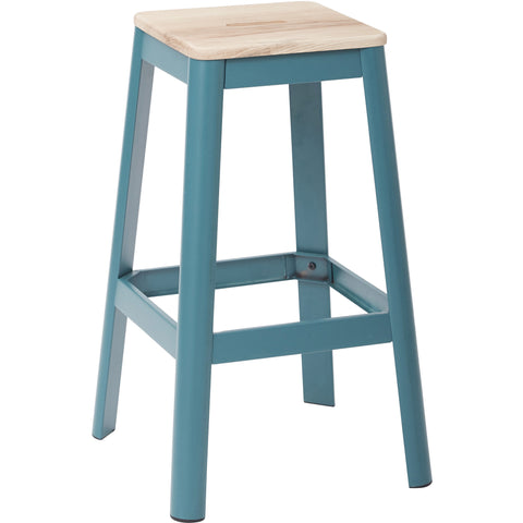 "OSP Hammond 30"" Metal Barstool with Lightwood Seat, Frosted Teal Finish"