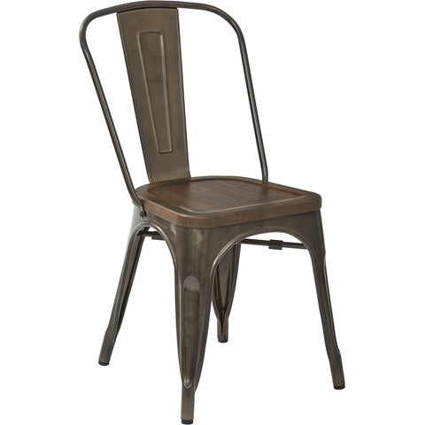 OSP Indio Dining Chairs with Vintage Ash Walnut Seat, Matte Gunmetal (Set of 4)