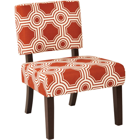Boulevard Chair with Dark Espresso Finished Legs, Brushed Dot Poppy Fabric
